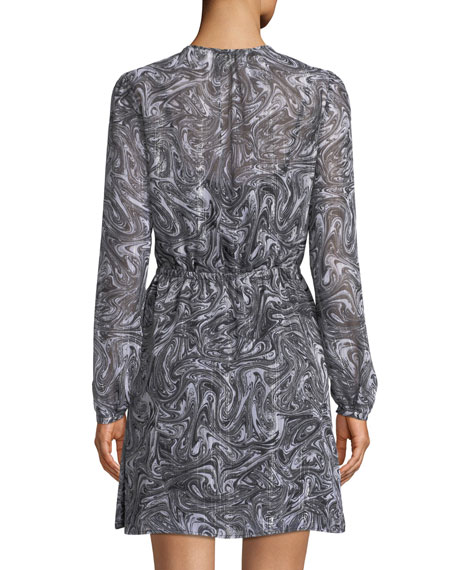 Long-Sleeve Swirl-Print Keyhole Dress