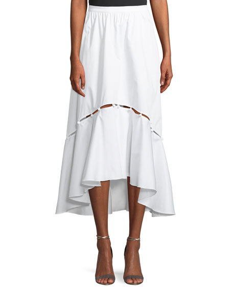 Tabitha A-Line High-Low Cotton Midi Skirt