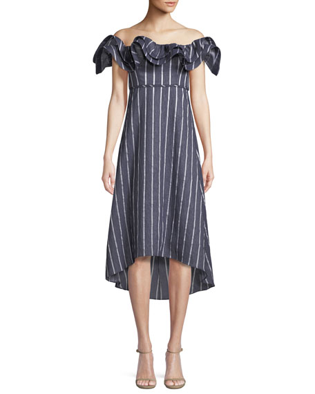 Prose & Poetry Mirabelle Ruffled Off-the-Shoulder Striped A-Line