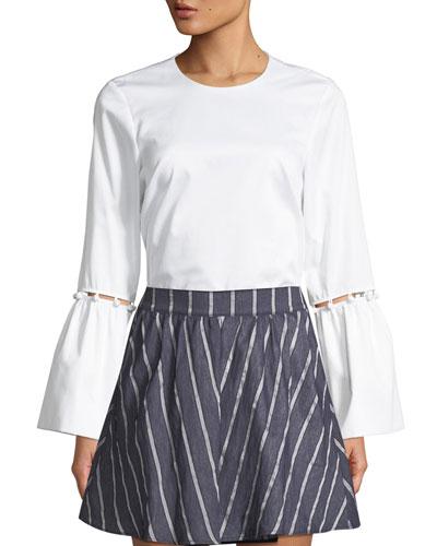 Arleene Crewneck Bell-Sleeve Cotton Poplin Top with Button-Trim