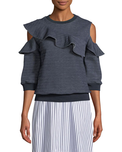 Asha Cold-Shoulder Ruffle Sweatshirt
