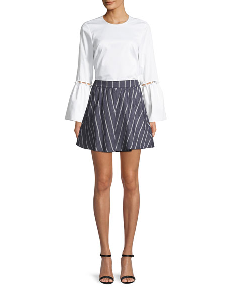 Abbey Striped Circular Mini Skirt