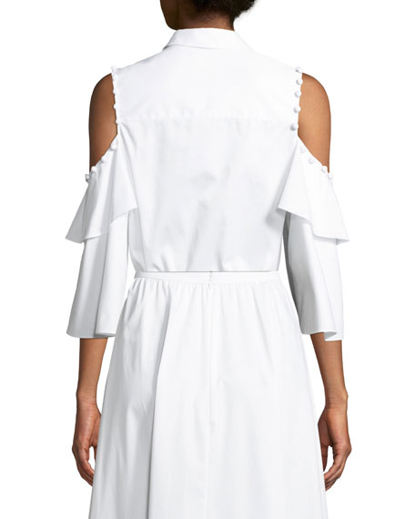Ramona Button-Down Cold-Shoulder Cotton Poplin Shirt