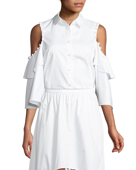 PROSE & POETRY Ramona Button-Down Cold-Shoulder Cotton Poplin Shirt in White