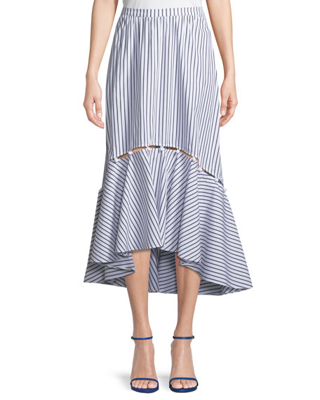 Prose & Poetry Tabitha Striped High-Low Midi Skirt