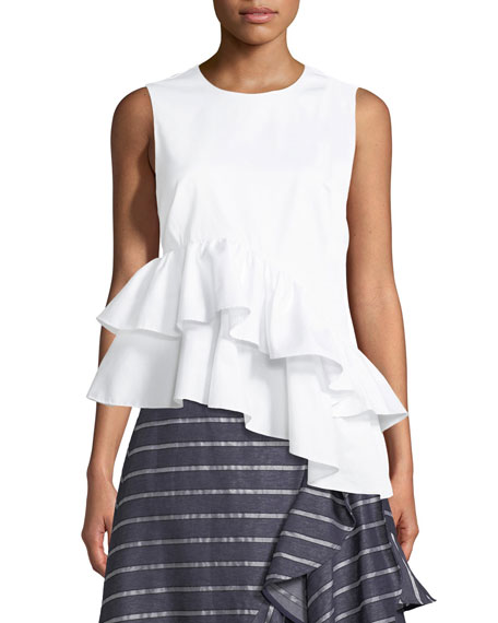 Marley Sleeveless Asymmetric Ruffle Cotton Top