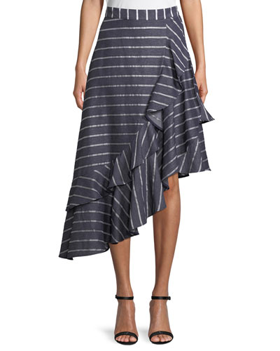 Jade Double-Ruffle Striped Asymmetric Midi Skirt