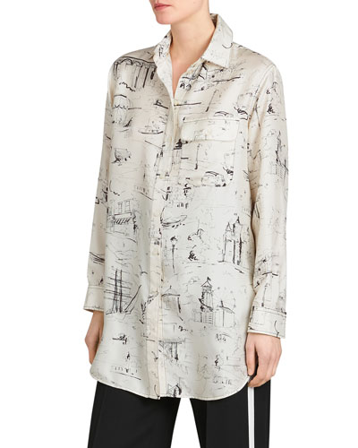 Chava Seaside Mulberry Silk Tunic Shirt