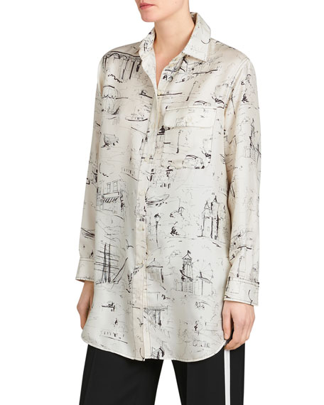 Burberry Chava Seaside Mulberry Silk Tunic Shirt