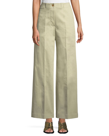Burberry Eastcote High-Waist Wide-Leg Trousers