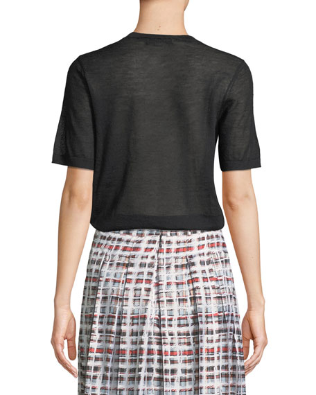 Short-Sleeve Cashmere Crewneck Tee