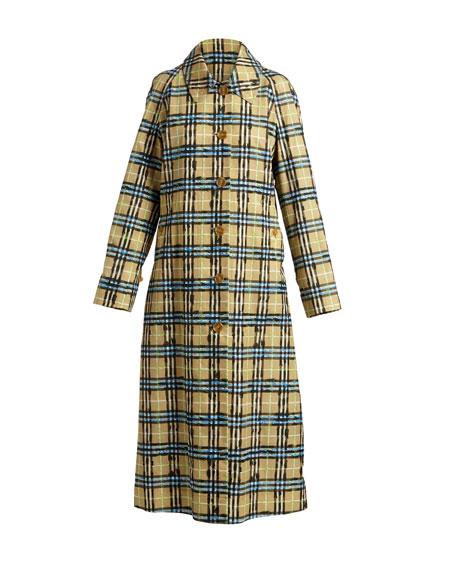 Calderbrook Gabardine Scribble-Check Car Coat