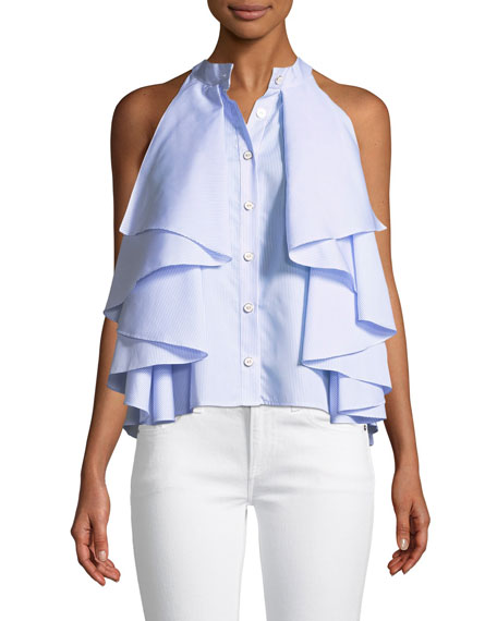 Caroline Constas Adrie Sleeveless Button-Front Striped Ruffled
