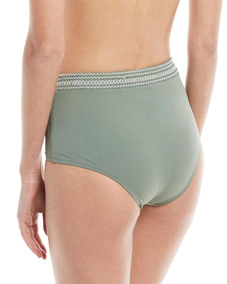 High-Waist Smocked-Band Swim Bikini Bottoms, Green