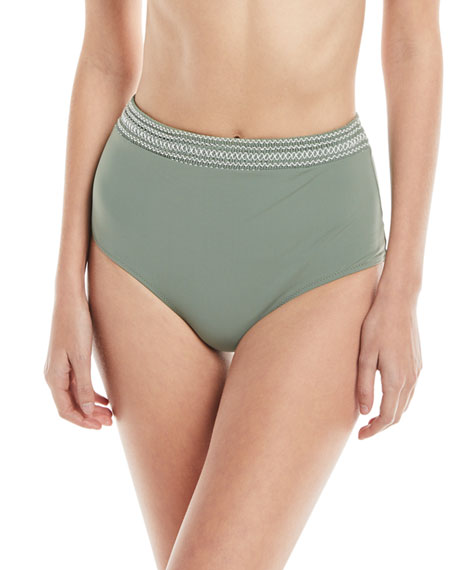 Kisuii High-Waist Smocked-Band Swim Bikini Bottoms, Green