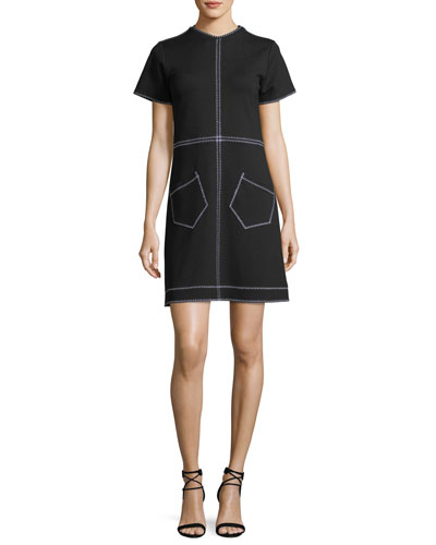 Short-Sleeve Mini Dress w/ Contrast Stitching