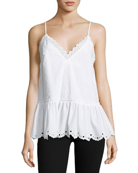 McQ Alexander McQueen Eyelet Cami Top w/ Gathered