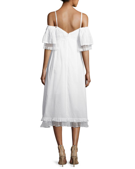 Pleated Flutter-Sleeve Midi Dress