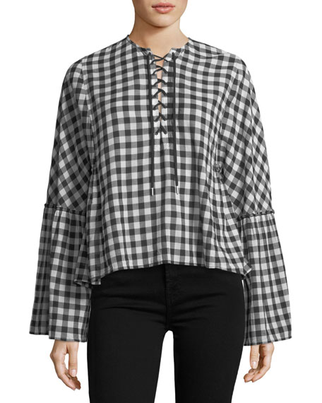 McQ Alexander McQueen Lace-Up Bell-Sleeve Top