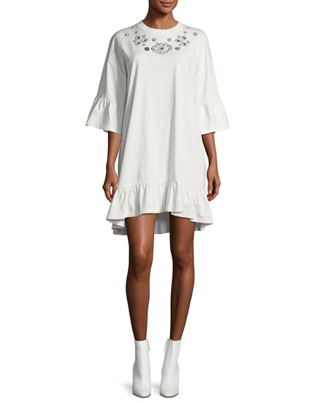 McQ Alexander McQueen Embellished Loose Ruffle Dress