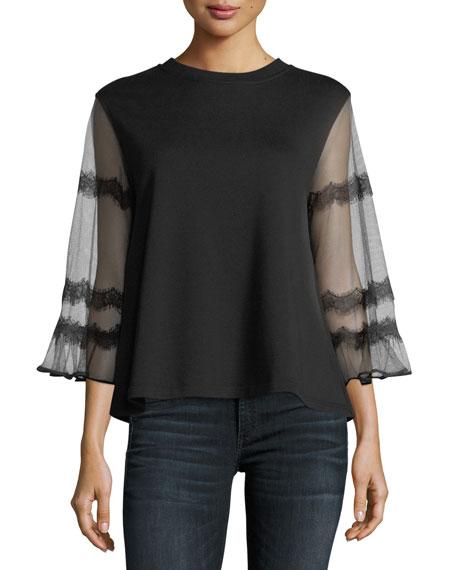 McQ Alexander McQueen Goth Hybrid Sheer-Sleeve Top