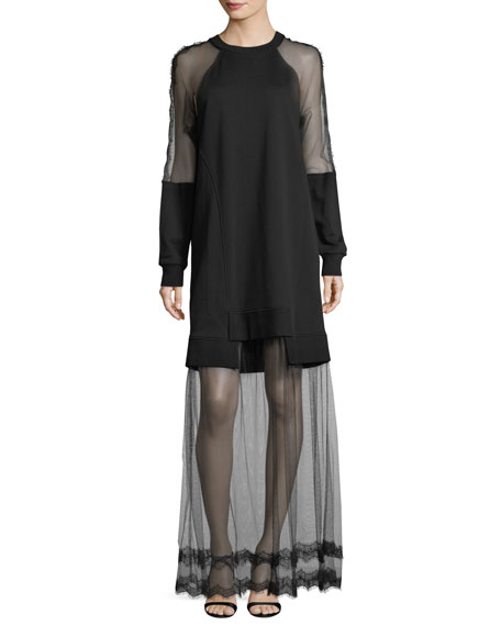 McQ Alexander McQueen Hybrid Long-Sleeve Sheer Dress