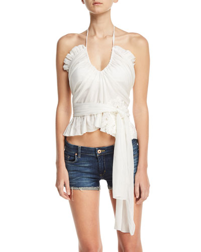 Frilly Cotton-Silk Voile Top