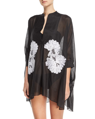Split-Neck 3/4-Sleeve Voile Kaftan with Lace, One Size