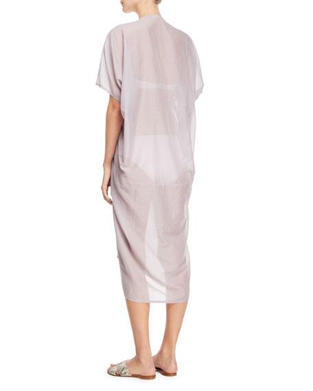 Short-Sleeve Voile Kaftan w/ Crochet Lace, One Size