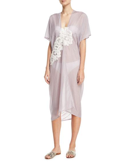LILA.EUGENIE Short-Sleeve Voile Kaftan W/ Crochet Lace, One Size in Purple