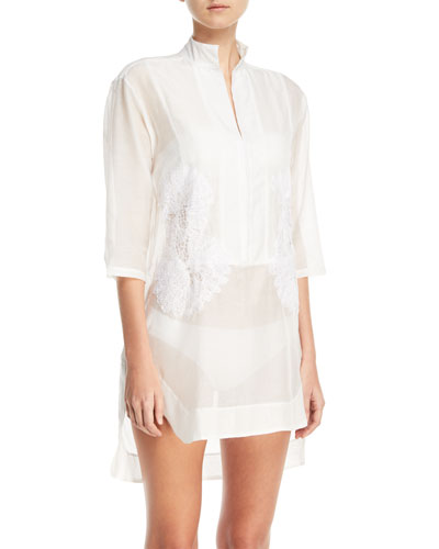 Empress 3/4-Sleeves Voile Coverup Shirtdress Coverup