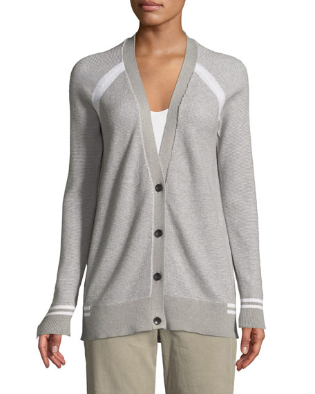 Raglan-Sleeve Button-Down Schoolboy Cardigan