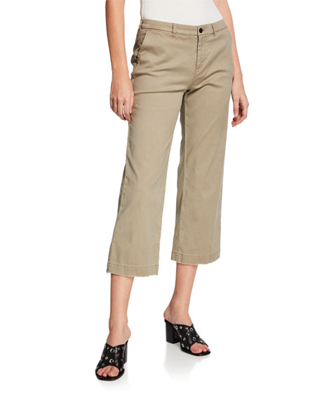 Cropped Boyfriend Wide-Leg Pants