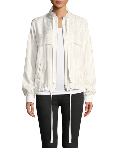 ATM Anthony Thomas Melillo Pinstripe Zip-Front Bomber Jacket