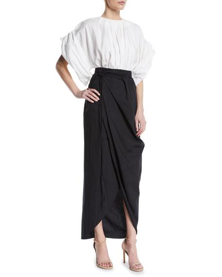 Wide-Sleeve Faux-Wrap Long Two-Tone Cotton Dress