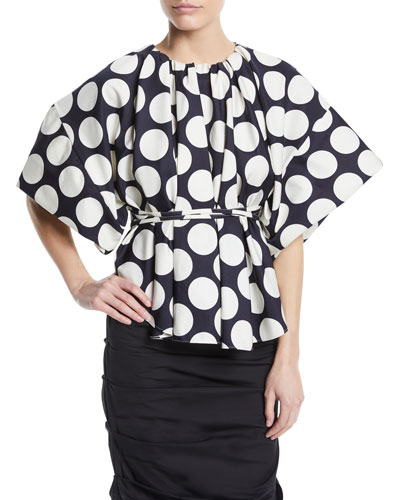 Wide-Sleeve Polka-Dot Top