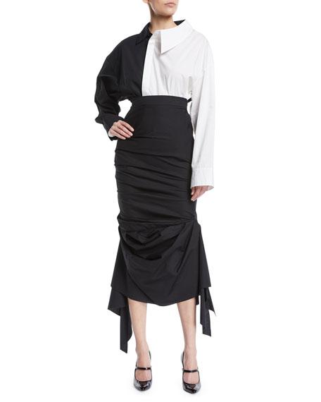 High-Waist Gathered Cotton Skirt