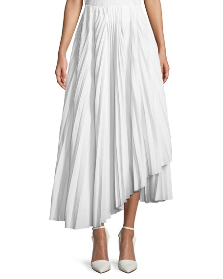 A.W.A.K.E. Pleated Maxi Skirt, White