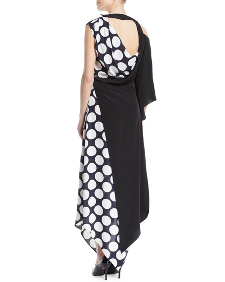 V-Neck Draped One-Sleeve Asymmetric Polka-Dot Cocktail Dress