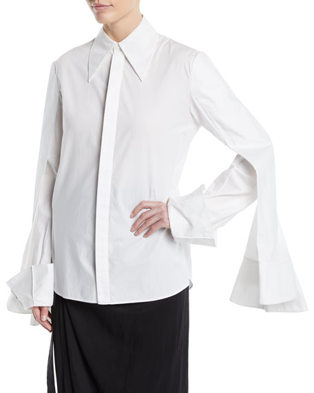 3-Sleeve Point-Collar Button-Down Cotton Shirt