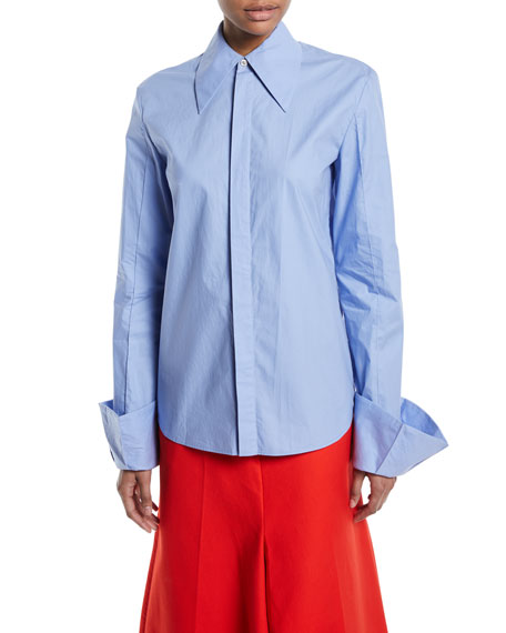 Strict Flared-Cuff Button-Down Long-Sleeve Cotton Shirt