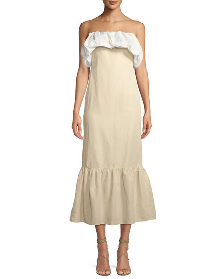 Allegra Ruched Strapless A-Line Linen Dress