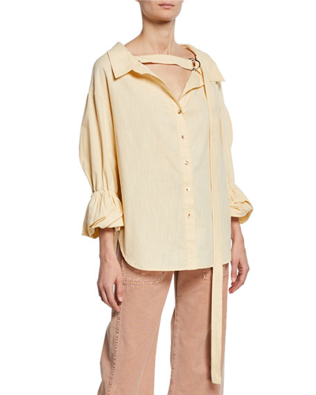 REJINA PYO Amber V-Neck Button-Front Linen Shirt and