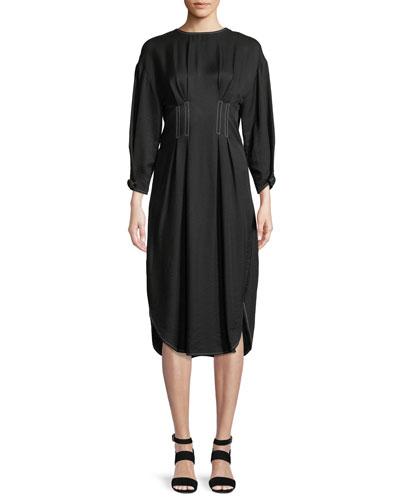 Maya High-Neck Open-Back Linen-Blend Midi Dress