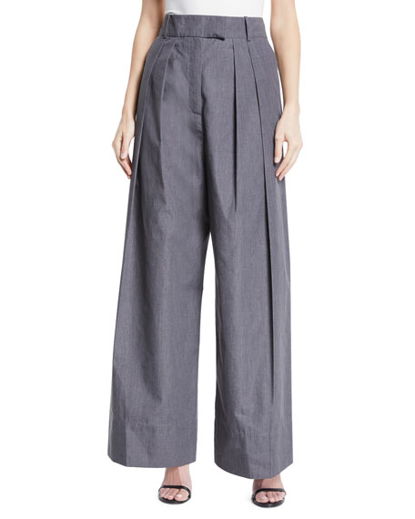Crispy High-Waist Wide-Leg Pleated Pants