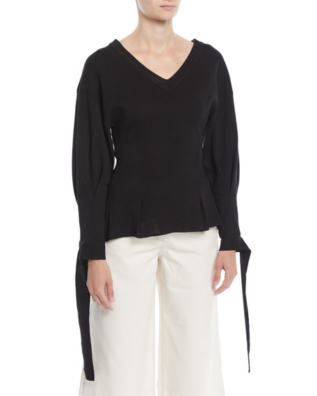 REJINA PYO Lexi Long-Sleeve V-Neck Sweater