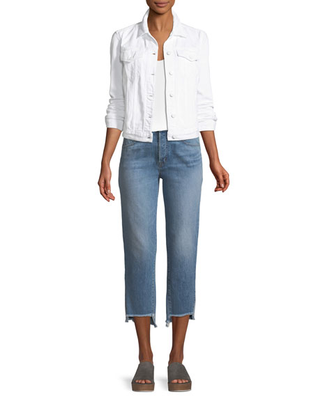 Wynne High-Rise Crop Straight-Leg Jeans with Step Hem