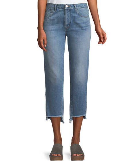 J Brand Wynne High-Rise Crop Straight-Leg Jeans with