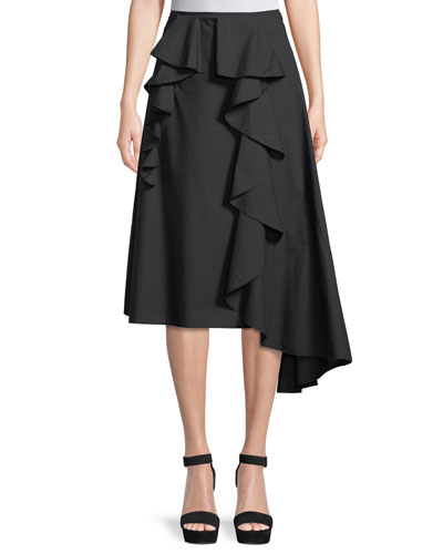 Hamina Poplin A-Line Skirt with Side Ruffle