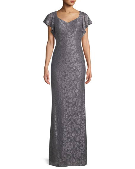 Flutter-Sleeve Metallic Lace Column Gown, Platinum